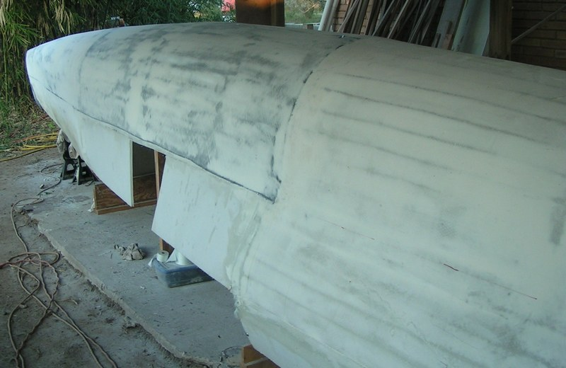 Kite-sailer forward bow section faired to final finish