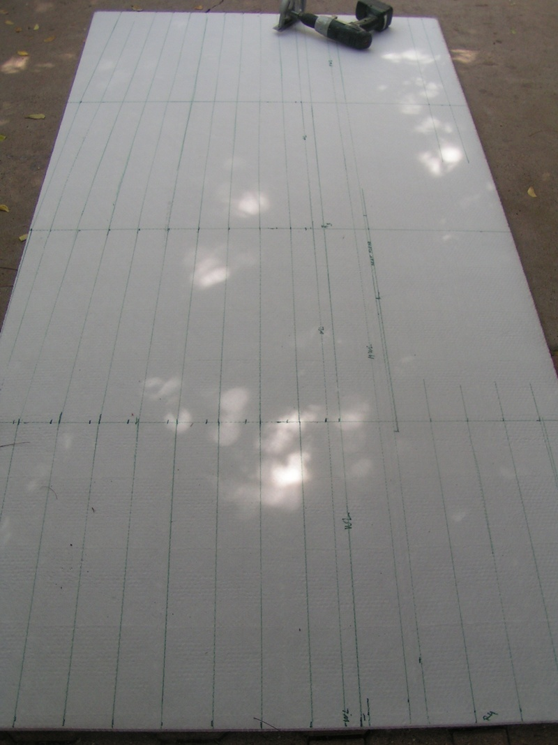 Cutting layout of Nidacore hull material for the kiteboat kite sailer KS32F