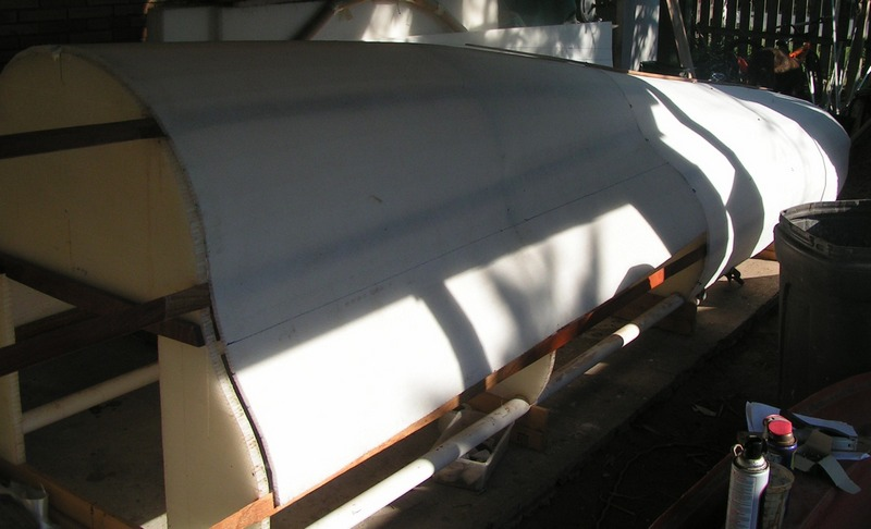 Kite-sailer hull emerges after the core skin is applied .. it starts to look like a kite boat